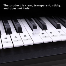 54/6188 Key Piano Stave Electronic Keyboard Note Sticker for White Keys Transparent PVC