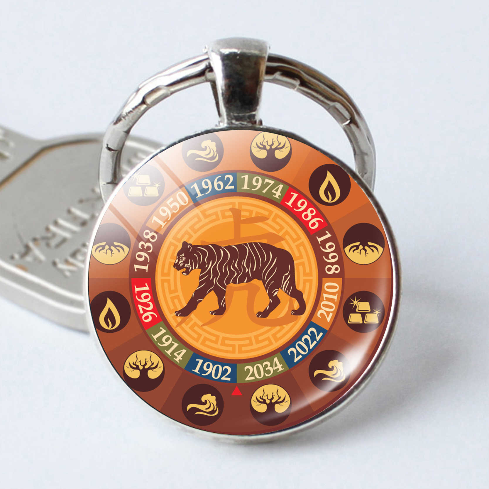 25mm Cabochon The Chinese Zodiac Signs Keyrings 12 Constellations Keychains  Traditional Fashion Key Rings Chains Jewelry Gift