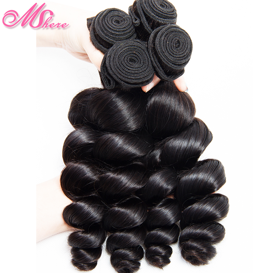 Brazilian Loose Deep Wave Bundles 100% Human Hair Extensions Mshere Remy Hair Weaves 4 Bundles Can Make Full Wig Natural Color-in 3/4 Bundles from Hair Extensions & Wigs    1
