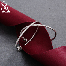 цена SA SILVERAGE 925 Sterling Silver Circle Hoop Earrings for Women Big Women Earring Silver Earings Silver 925 Jewelry Brincos онлайн в 2017 году