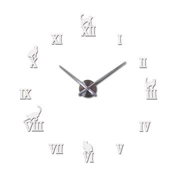 Hot design large decorative wall clocks brief design diy clocks digital watch quartz living room 3d cat wall stickers 8