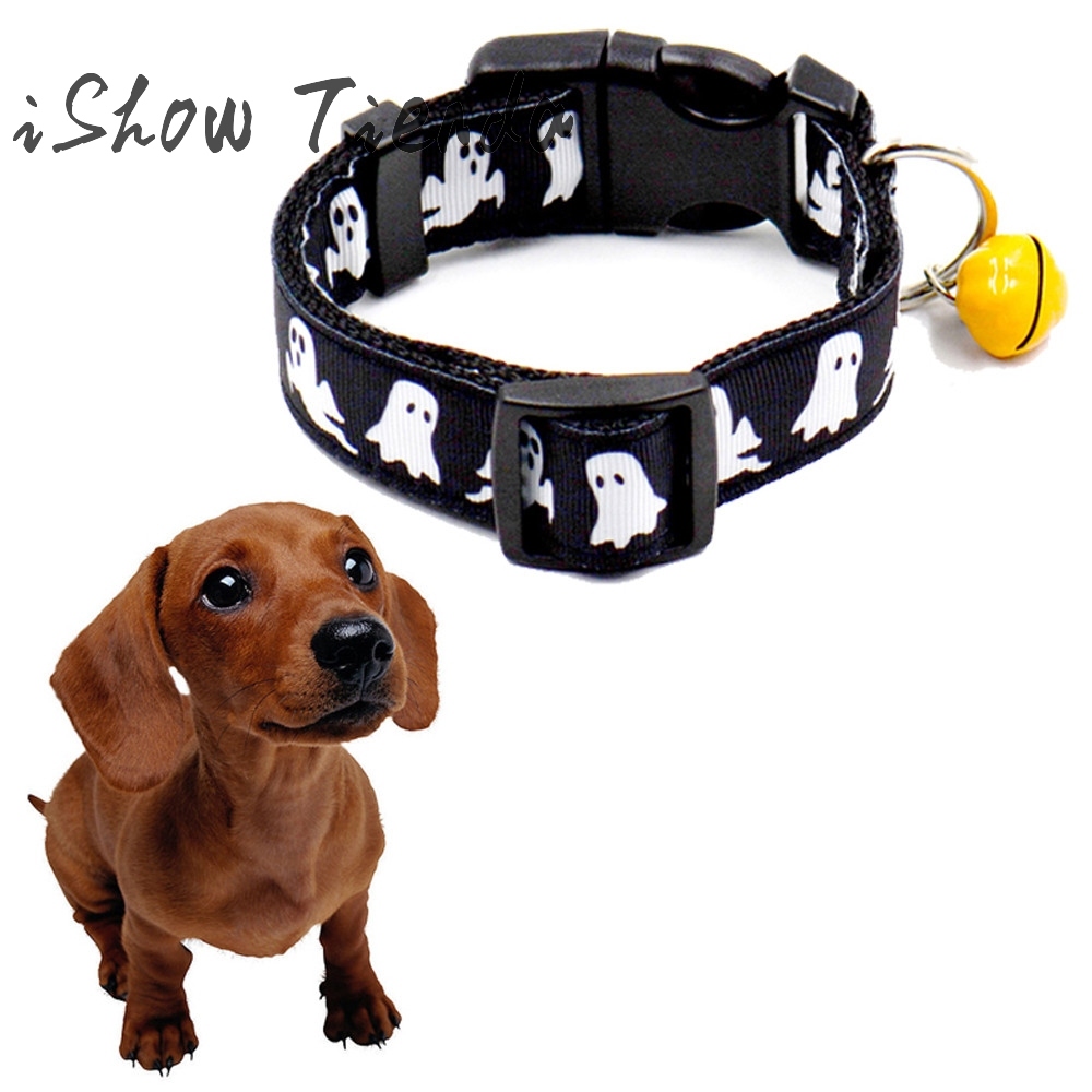 Halloween Pet Dog Collar Nylon Bat Skeleton Black Ghost Style with Bell Size S L High Quality Newest 1pcs 2017