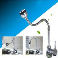 Deck Mounted Kitchen Faucet Hot And Cold Water Mixer Crane Single Hole Chrome Finished