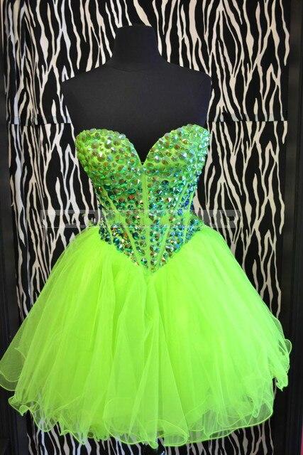 Aliexpress.com : Buy Buy Neon Green Short Tulle Prom Dresses ...
