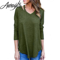 Awaytr 2016 Arm Green Sexy Women Sweater Autumn Winter V Neck Hollow Out Pullovers Long Sleeve