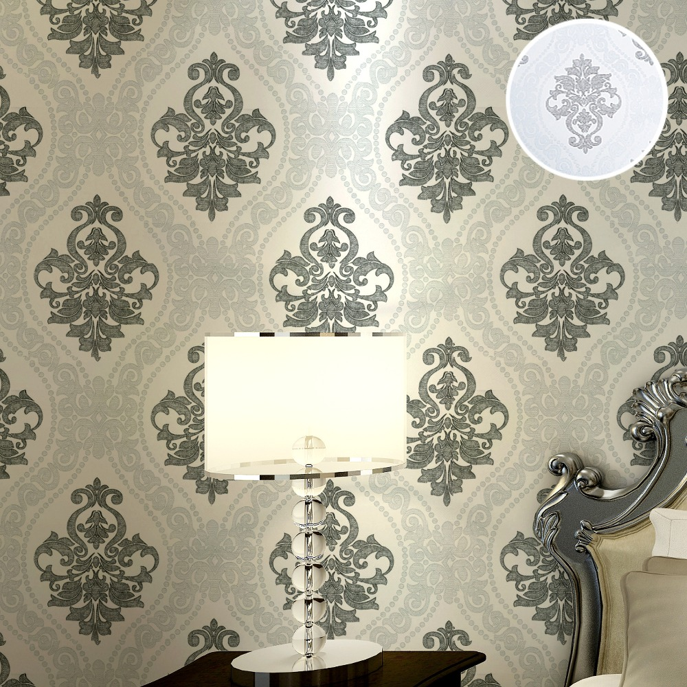 Modern <font><b>Italian</b></font> Black Silver Damask Wallpaper Glitter Textured Roll For Bedroom <font><b>Home</b></font> <font><b>Decor</b></font>