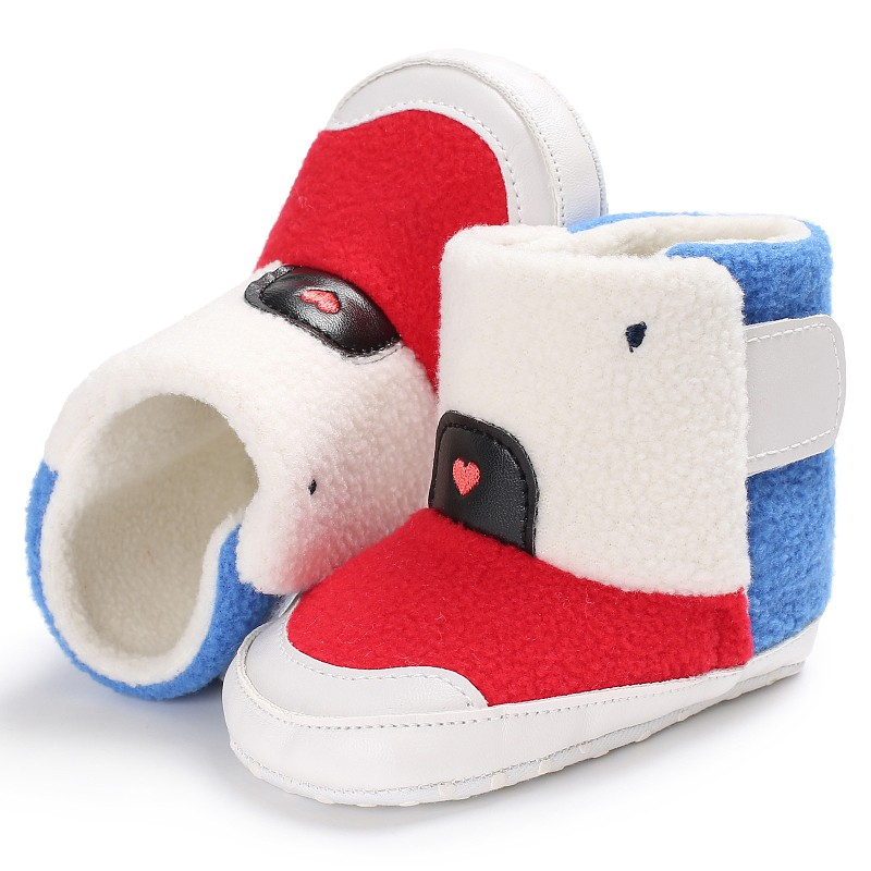 Kid Boys Soft Casual Patchwork First Walker Boys Girls Toddler Winter Warm Prewalkers Cack Baby Shoes Fashion Splice Color