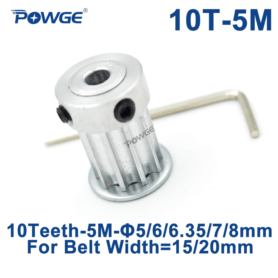 POWGE 10 Teeth HTD 5M Synchronous Pulley Bore 5/6/6.35/7/8mm for Width 15/20mm HTD5M Timing Belts Gear wheel pulley 10Teeth 10TPOWGE 10 Teeth HTD 5M Synchronous Pulley Bore 5/6/6.35/7/8mm for Width 15/20mm HTD5M Timing Belts Gear wheel pulley 10Teeth 10T