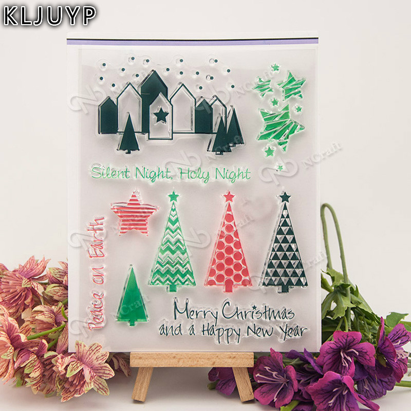 KLJUYP Christmas Tree Transparent Clear Silicone Stamp/Seal for DIY scrapbooking/photo album Decorative clear stamp sheets