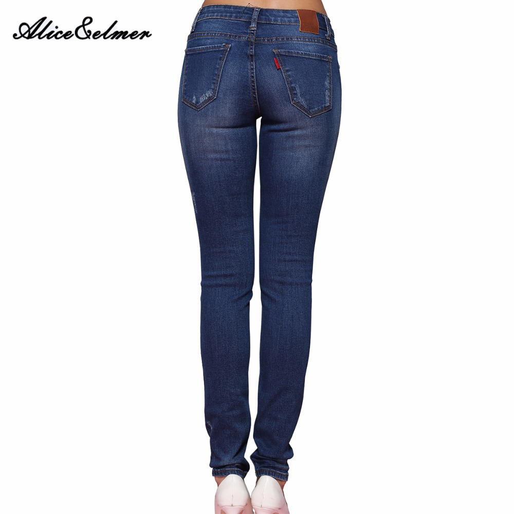 Alice u0026 Elmer Hole Ripped Jeans Women Jeans Woman Jeans For Girls Stretch Mid Waist Skinny Jeans ...