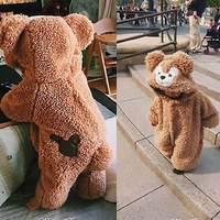 Симпатичный плюшевый медвежонок пижамы комплект осень-зима сиамские Ползунки для Обувь для мальчиков Обувь для девочек Детская домашняя о...