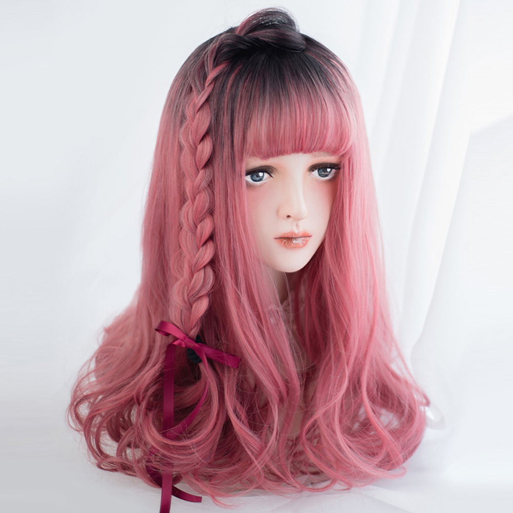 Girl Red Black Mix Straight Long Harajuku Thanksgiving Costume Cosplay Full Wigs
