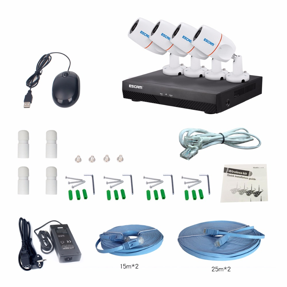 ESCAM NVR Kits PNK405 HD 1080p 4CH POE NVR Security System With Motion Detector Alarm Record ONVIF IP66 Waterproof IR Camera