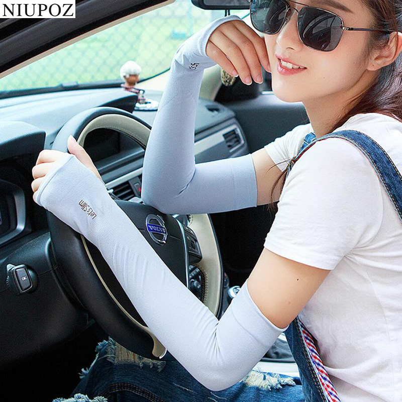 Lady Women Fashion Ice Silk Sports Cycling Hiking Cold Driving Gloves Half Finger UV Sunscreen Sun Protective Arm Sleeve G106