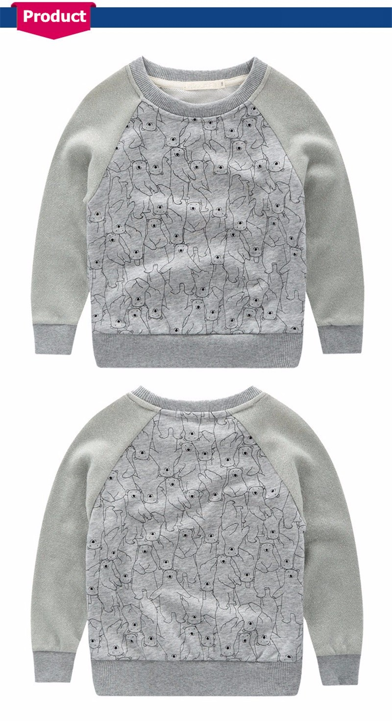 For Boys Girls Swearshirt T-shirt Autumn Winter New Next Brand Little Bear Printing Kids Tees Sweater Tops Children Tees O-neck 4