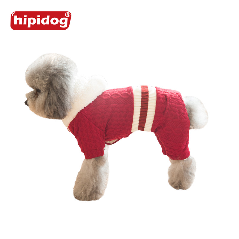 Hipidog font b Pet b font Dog Red Blue Sweater Christmas Striped Style Puppy font b