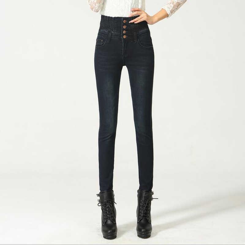 2019 Jeans Delle Donne di Alta Elastico In Vita Skinny Denim Lunghi Pantaloni Della Matita Più Il Formato 40 della Donna Dei Jeans Camisa Feminina Lady Fat pantaloni