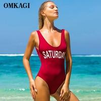 OMKAGI Brand One Piece Swimsuit Swimwear Women Sexy Push Up Letter Date Bodysuit Swimming Bathing Suit