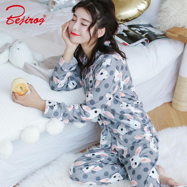 Bejirog rabbit print pajama set for women long sleeve sleepwear cotton  homewear female nightwear autumn pants c4f1ccd93