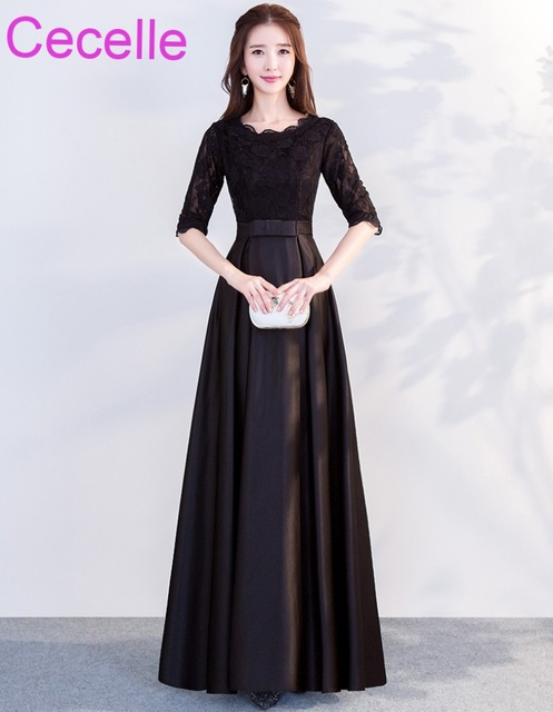 aa4848f360c Black Long Modest Bridesmaid Dresses With Half Sleeves Lace Top Satin Skirt  Floor Length Custom Made
