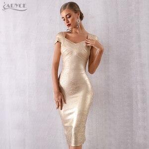 Image 2 - ADYCE Mùa Hè Mới Băng Váy Phụ Nữ Vestidos Verano 2020 Sexy V Neck Tắt Vai Người Nổi Tiếng Bên Váy Sexy Câu Lạc Bộ Bodycon ăn mặc