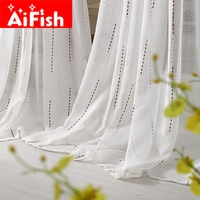 Modern ALL Match Whte Window Sheer Curtains For Living Room Bedroom Kitchen Window Treatments Panels Fabric