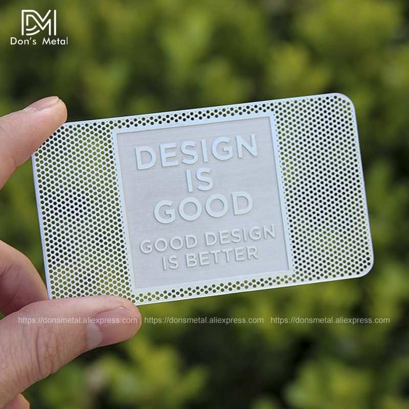 Image 3 - Hollow out/ Cut out stainless steel metal business card Metal membership card design metal business card customization-in Business Cards from Office & School Supplies