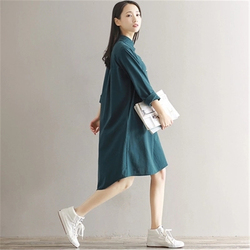 2018 New Spring Autumn Cotton Line Dress Women Vintage Literature  Long Sleeved Shirt Dresses Female Vestidos Z302 5
