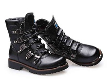 2015 Sreet TOP Rock PUNK COOL# Men's Fashion Motorcycle Army Boot PU leather climbing boots
