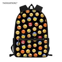 Twoheartsgirl Children Backpacks Kindergarten Schoolbag 3D Cute Emoji Primary Kids Backpack Children School Bags for Girls Boys