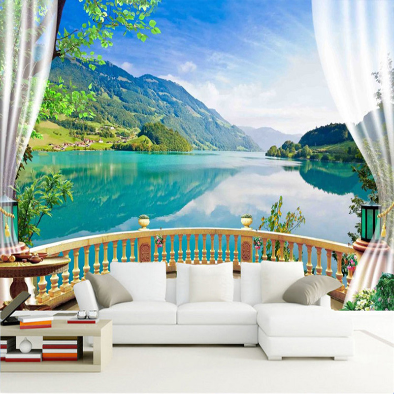 Custom 3D Wall Murals Wallpaper Landscape Beautiful Green Lake View 3D Large Mural Living Room TV Wall Home Decor 3D Wall Cloth