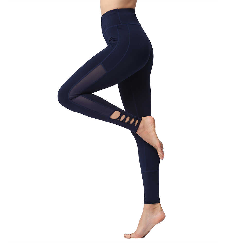 5f1d1a62ee0882 High Waist Stretch Pants Push Up Tummy Control Quick Dry Sexy Mesh Cross  Yoga Jogging Gym