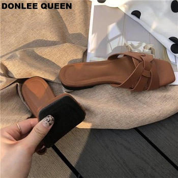 DONLEE QUEEN Women Brand Slippers Summer Slides Open Toe Flat Casual Shoes Leisure Sandal Female Beach Flip Flops Big Size 41 5