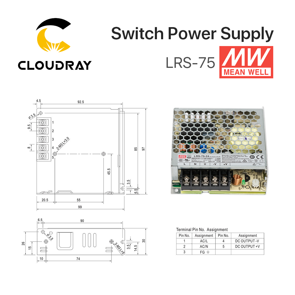 US $20 0 |Meanwell LRS 75 Switching Power Supply 12V 6A / 24V 3 2A 75W  Original MW Taiwan Brand for Laser Controller-in Switching Power Supply  from