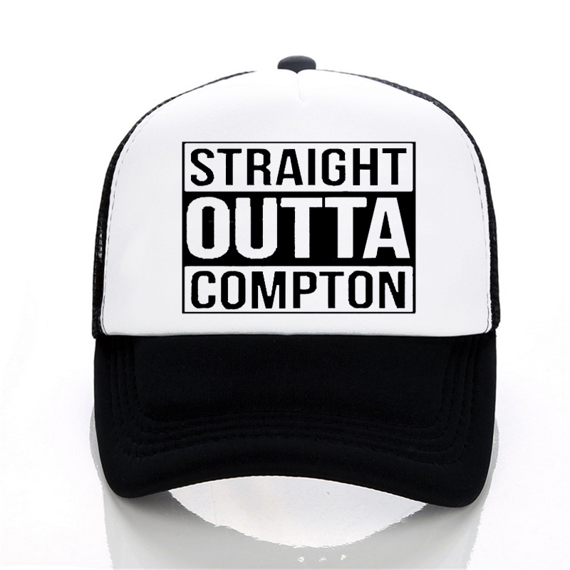 Men and Women Letter Straight Outta Compton   Baseball     cap   Europe and The United States Style rock hat Summer leisure Mesh   cap