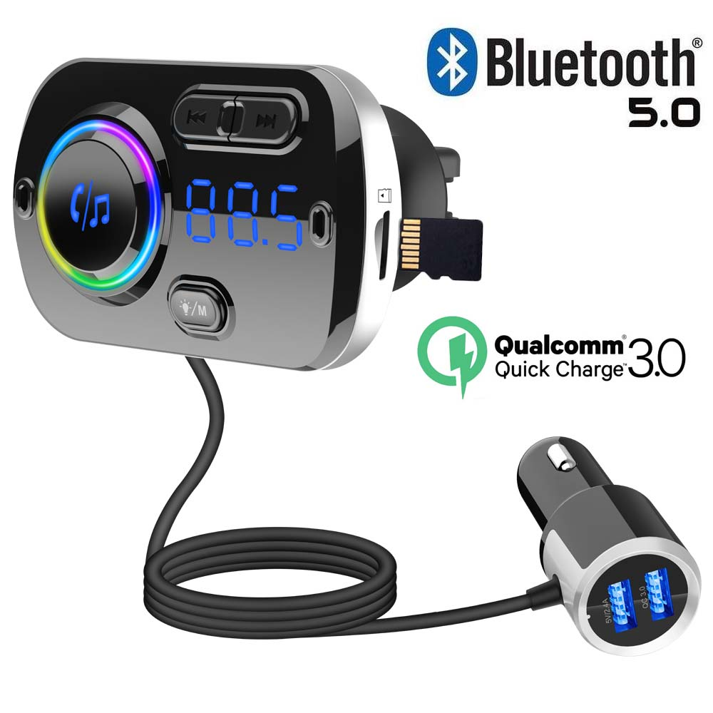 JINSERTA Bluetooth 5.0 MP3 Player FM Transmitter Car Kit USB QC3.0 Handsfree Colorful atmosphere lights Support TF Card