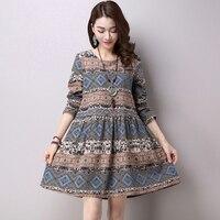 Sweet Floral Print Mini Dress Spring Summer Fashion Ethnic Wind Long Sleeve O neck Mini Dress Party Women A Line Vestidos RE0613