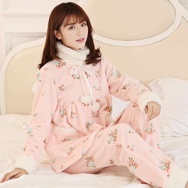 Detail Feedback Questions about New female pajamas suit autumn winter long  sleeved flannel Home Clothing turtleneck Sweet warm Thicker sleepwear  Women s ... 8ed18d58a
