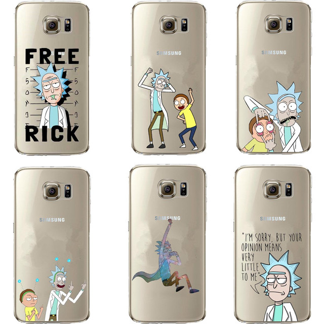 sports shoes 835f1 17e82 US $1.79 40% OFF|Funny Rick And Morty Clear Soft silicone TPU Case For  Samsung Galaxy S5 S6 S7 Edge S8 Plus A3 A5 A7 2017 J3 J5 J7 2016 -in ...