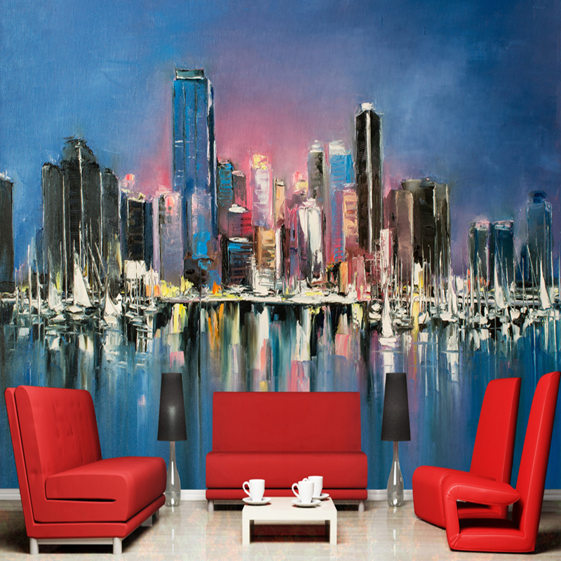 Retro Oil Painting Wallpapers 3D Landscape Murals Hand-Painted Abstract Night Scenery Walls Papers for TV Living Room Home Decor hua tuo landscapes hand painted oil painting