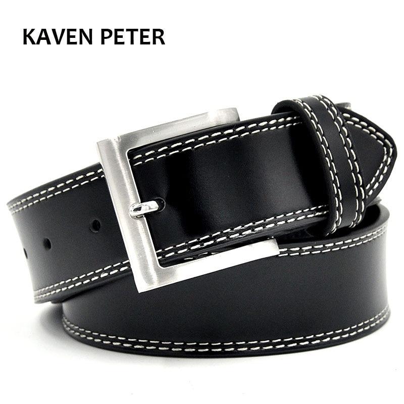 Neformální opasek černá barva džíny pánské pevné vzor typu pravé kůže opasek dvojité šití velké spony pro muže luxusní opasek