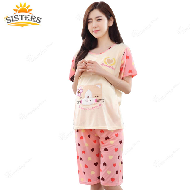 Cat Summer Cotton Maternity Women For Pregnant Chic Wear Lactation Clothing For Feeding Pajama Nursing Clothes Nightgown Plus