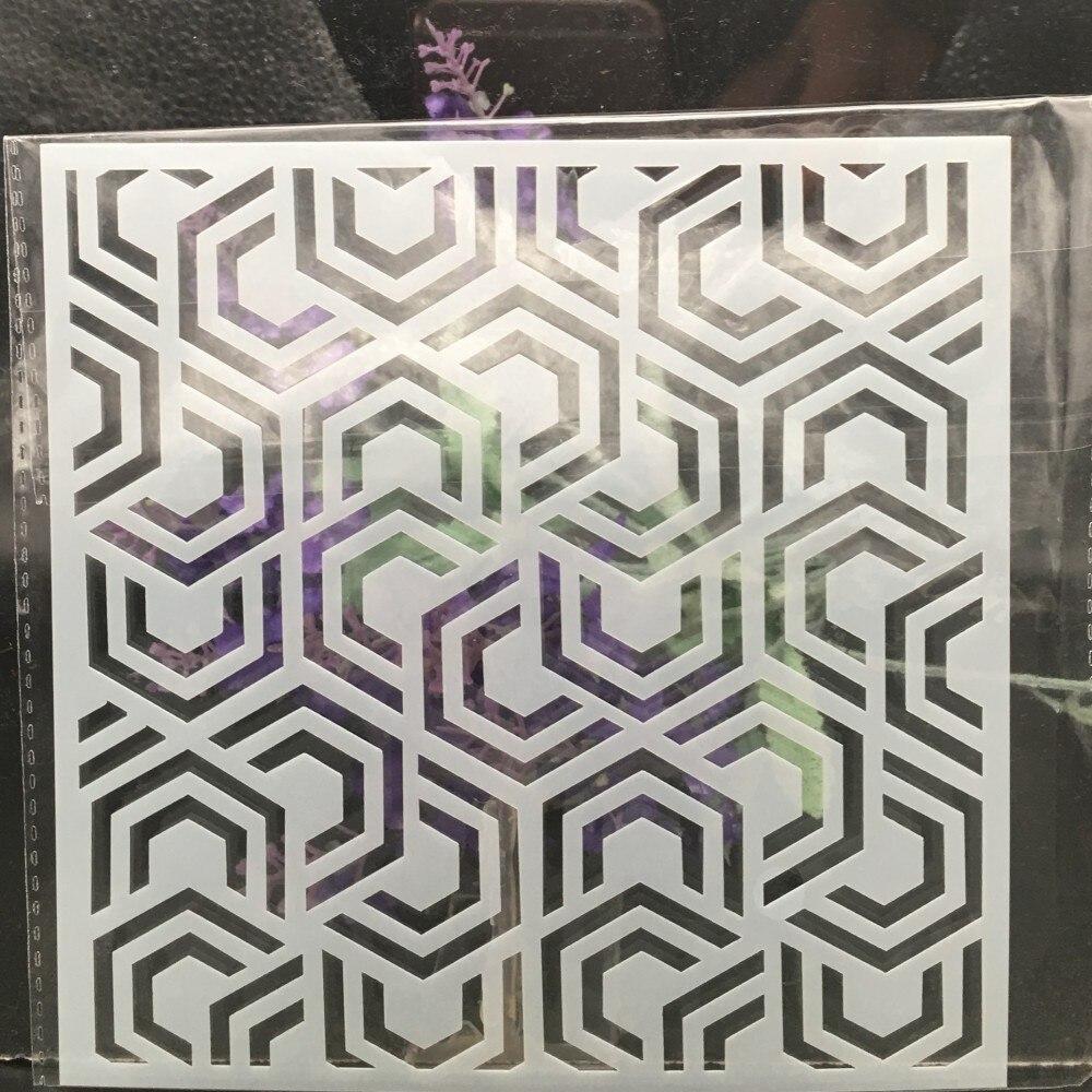 15cm Geometry Texture 95 DIY Layering Stencils Wall Painting Scrapbook Coloring Embossing Album Decorative Card Template