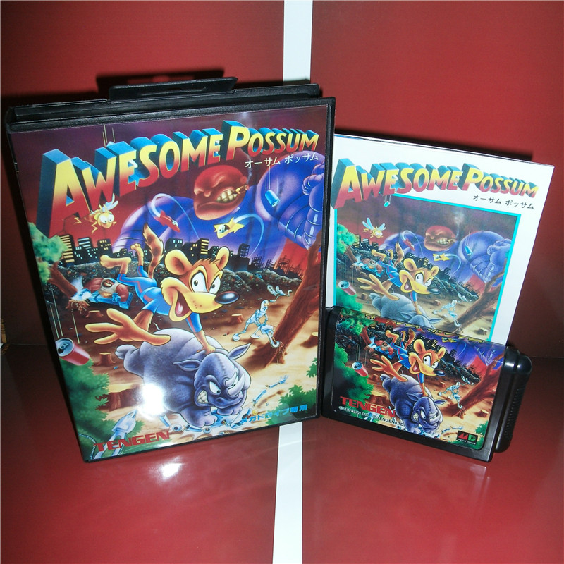 Awesome Possum Japan Cover with Box and Manual for MD MegaDrive Video Game Console 16 bit MD card