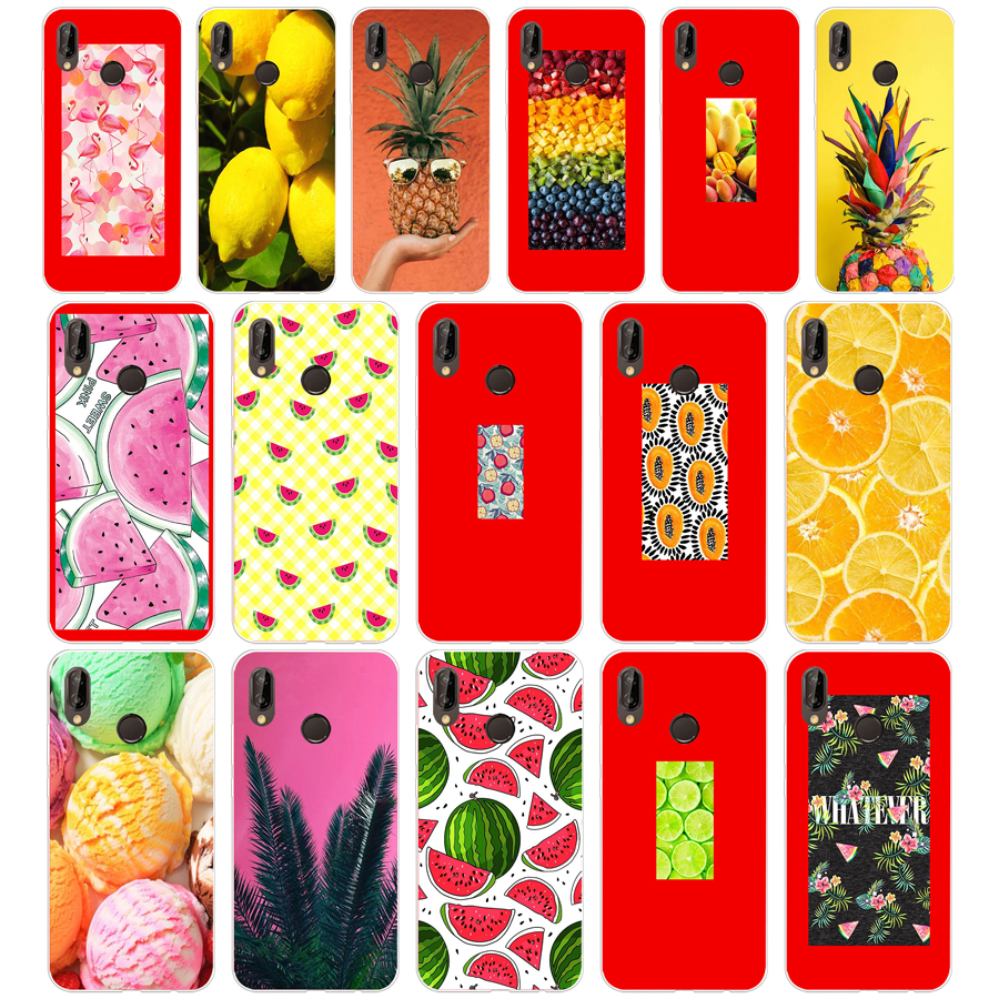 267SD <font><b>Summer</b></font> Fruit Lemon Watermelon Soft <font><b>Silicone</b></font> Tpu Cover <font><b>Case</b></font> for Honor 10 <font><b>huawei</b></font> p mate 10 20 lite y5 <font><b>y6</b></font> prime <font><b>2018</b></font> image