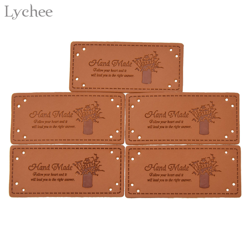 Lychee 5pcs Handmade Labels PU Leather Tags For Clothes Garment Labels For Jeans Bags Shoes Sewing Craft Accessories