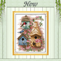 Birds House Log Cabin Pattern Printed On The Canvas DMC 11CT 14CT Cross Stitch Kits Needlework