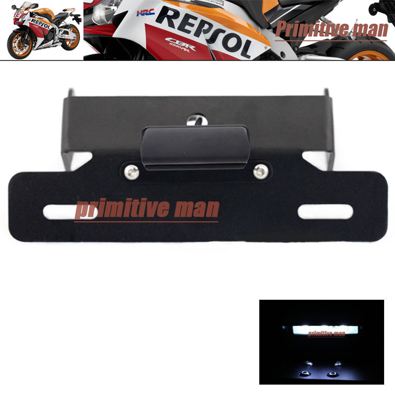 For HONDA CBR600RR CBR 600RR 2003-2006 CBR1000RR CBR 1000RR 2004-2007 License Plate Holder+LED License Plate Led Light motorcycle fender eliminator led light tidy tail for honda cbr 600rr cbr600rr 2005 2006 cbr 1000rr cbr1000rr 2004 2005 2006 2007