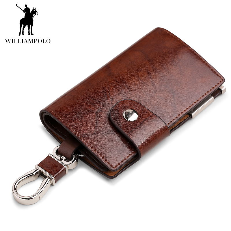Men's Car Keys Wallets Genuine Cowhide Leather Male Key Holder Organizer Housekeeper Keychain Purse Key Ring Bag Keys Case