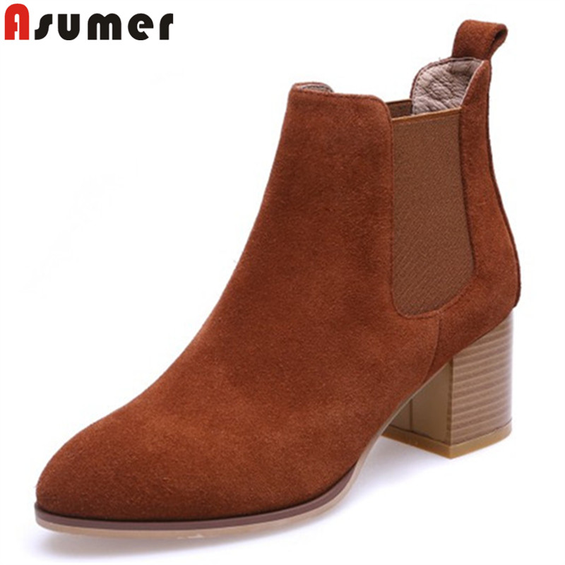 ASUMER big size 33-42 fashion autumn winter boots women pointed toe ankle boots thick high heels suede leather boots 2018 new asumer black fashion autumn winter boots women pointed toe zip genuine leather boots thick high heels ankle boots big size 33 43